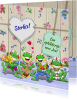 Sterkte kaarten - Sterkte kaart met bloempjes en kikkers