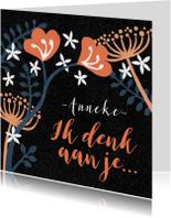 Sterkte kaarten - Sterkte kaartje bloemen blauw zwart abstract