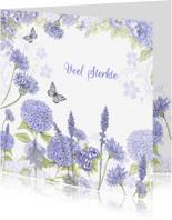 Sterkte kaarten - Sterkte met blauwe bloemen