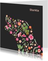 Condoleancekaarten - Sterktekaart met een hond silhouet van bloemen