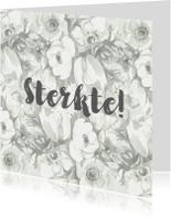 Sterkte kaarten - Sterktekaart met lichtgrijs bloementekening