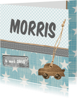 Geboortekaartjes - Sterren label auto geboortekaart