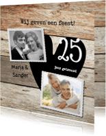 Jubileumkaarten - Stijlviolle 25 jaar foto huwelijksfeest hout