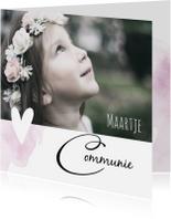 Communiekaarten - Stijlvolle communiekaart voor een meisje met foto en hartje