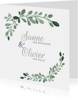 Trouwkaarten - Stijlvolle trouwkaart met aquarel takjes en besjes - LC