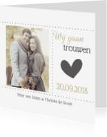 Trouwkaarten - Stijlvolle trouwkaart met foto