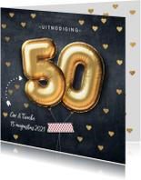 Jubileumkaarten - Stijlvolle uitnodiging 50 jarig huwelijk