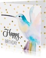 Verjaardagskaarten - Stijlvolle verjaardagskaart  hummingbird met confetti