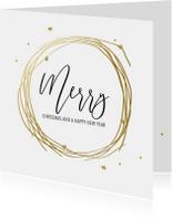 Zakelijke kerstkaarten - Stijlvolle zakelijke kerstkaart goud met sterretjes