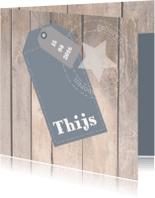 Geboortekaartjes - Stoer Geboortekaartje met label