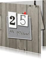 Jubileumkaarten - Stoere hout huwelijksjubileum 25 -LO