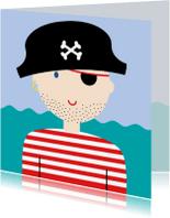 Kinderkaarten - Stoere piraat met stoppelbaard