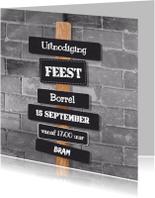 Uitnodigingen - Stoere uitnodiging muur paal