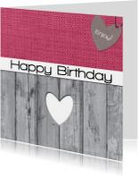 Verjaardagskaarten - stof hartje hout