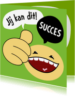 Succes kaarten - Succeskaart smiley duim omhoog