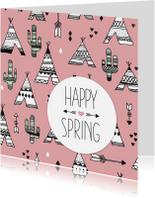 Communiekaarten - Teepee cactus lente engels