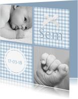 Geboortekaartjes - Traditioneel patchwork zoon 1LS3