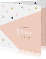 Geboortekaartjes - Trendy geboortekaartje met geometrisch vlak en driehoekjes
