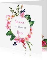 Trouwkaarten - Trendy, kleurrijke trouwkaart met prachtige bloemen