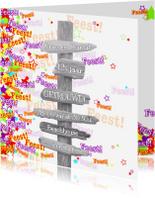 Jubileumkaarten - Trendy uitnodiging FEEST