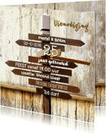 Jubileumkaarten - Trendy uitnodiging wegwijzer SG