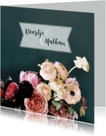 Trouwkaarten - Trouwen bloemen oudroze