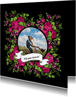 Trouwkaarten - Trouwen folk rozen roze - HR