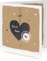 Trouwkaarten - Trouwen - Groot  hart, stempel