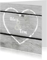 Trouwkaarten - Trouwen krijt hart hout print