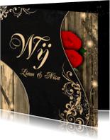 Trouwkaarten - Trouwen rozen en hout d