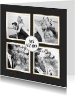 Trouwkaarten - Trouwkaart 4x foto en hart