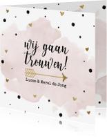 Trouwkaarten - Trouwkaart aquarel goud folie