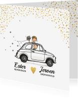 Trouwkaarten - Trouwkaart auto wit hartjes goud av