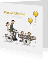 Trouwkaarten - Trouwkaart bakfiets met kinderen geel