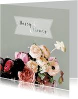Trouwkaarten - Trouwkaart bloemen aquarelstijl licht