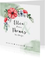 Trouwkaarten - Trouwkaart bloemen bohemian met waterverf