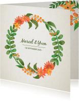 Trouwkaarten - Trouwkaart bloemkrans met namen