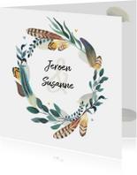 Trouwkaarten - Trouwkaart bohemian romantisch met veren