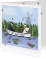 Trouwkaarten - Trouwkaart boot Anet Illustraties