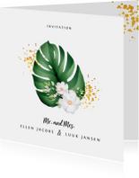 Trouwkaart botanisch stijlvol met blad, goud en bloemen