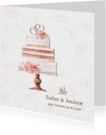 Trouwkaarten - Trouwkaart bruidstaart rozen