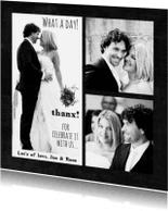 Trouwkaarten - Trouwkaart bruiloft dank zwart