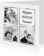 Trouwkaarten - Trouwkaart collage wit 3x foto