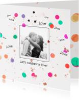Trouwkaarten - Trouwkaart confetti harten
