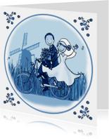 Trouwkaarten - Trouwkaart Delftsblauw fiets 1