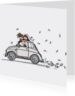 Trouwkaarten - Trouwkaart Fiat 500 wit kl