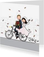 Trouwkaarten - Trouwkaart fiets blikjes blond