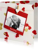 Trouwkaarten - trouwkaart foto confetti hartjes