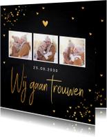 Trouwkaarten - Trouwkaart fotocollage gouden confetti