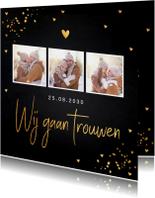 Trouwkaart fotocollage gouden confetti